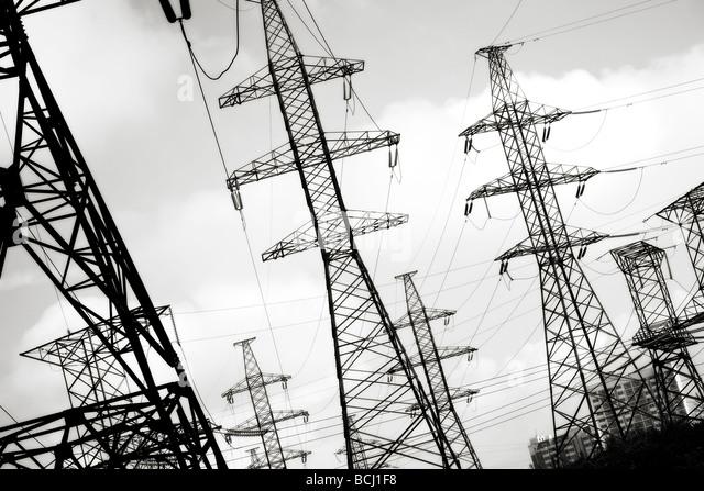 Elektrische Leistung Linienkonzept schwarz / weiß Stockbild