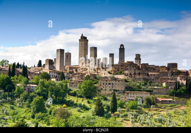 San Gimignano, Toskana, Italien, RF Stockbild