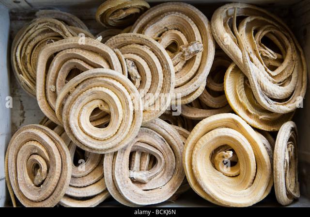 Getrocknete zusammengerollte Schlangen in den Märkten Stockbild