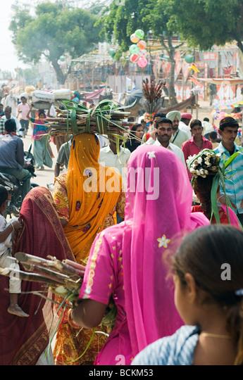 Menschen in Pushkar Kamel-festival Stockbild
