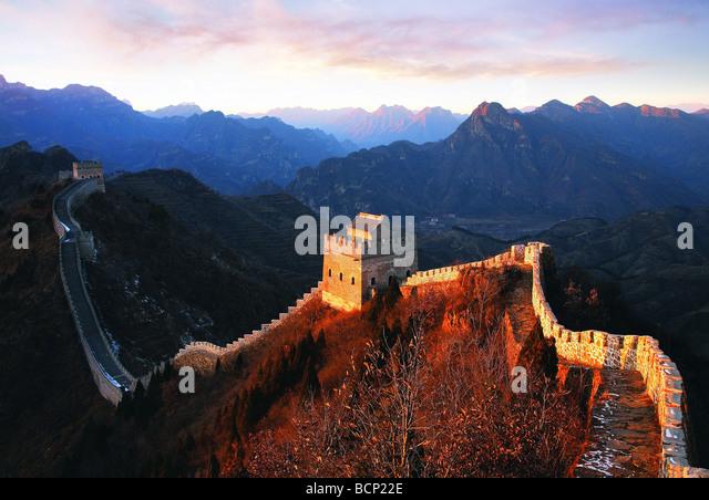Große Mauer Huangyaguan schlängelt sich durch den Berg, Ji Grafschaft, Tianjin, China Stockbild