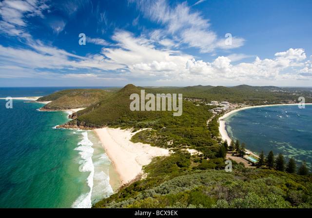 Blick vom Tomaree Head Lookout Port Stepehens New South Wales Australien Stockbild