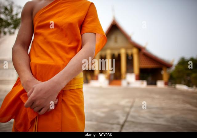 Mönch im Wat Hor Xieng, Luang Prabang, Laos Stockbild