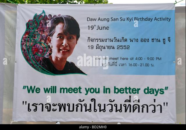 Aung San Su Kyi, Geburtstagsbanner, Chiang Mai, Thailand Stockbild