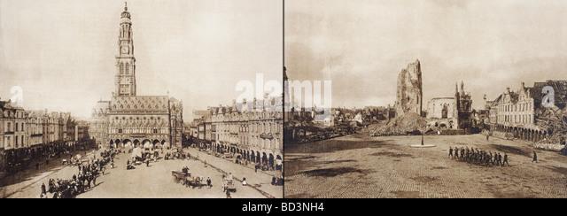 Arras, Frankreich. Das Rathaus in der Petite Ort vor und nach der Schlacht von Arras im ersten Weltkrieg. Stockbild