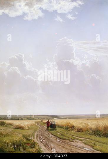 """Bildende Kunst, Shishkin, Ivan Ivanovich, (1832-1898), Malerei, """"Mittag, Landschaft in der Nähe von Moskau"""", Stockbild"""