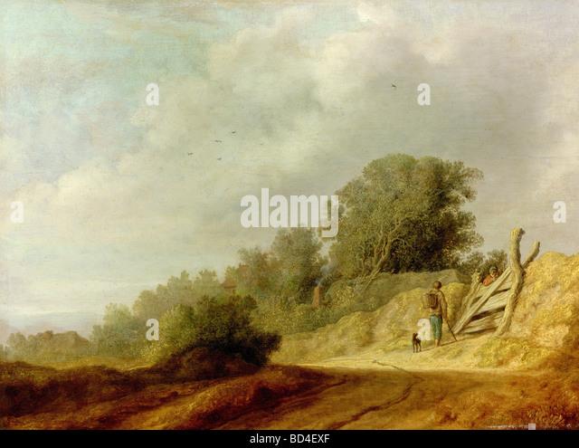 "Bildende Kunst, Ruysdael, Salomon, (ca. 1600-1670), Malerei, ""Landschaft mit Weg"", National Gallery, Prag, Stockbild"