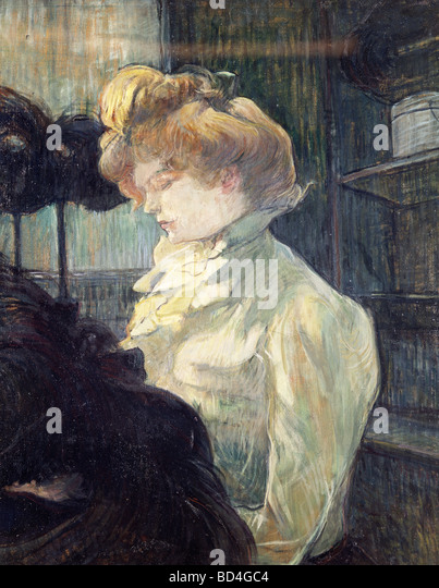 Bildende Kunst, Toulouse-Lautrec, Henri de (1864-1901), Malerei, 'La Modiste', 1900, Museum Albi, Europa, Stockbild