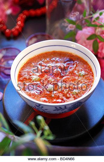 Gazpacho (kalte Gemüsesuppe, Spanien) Stockbild