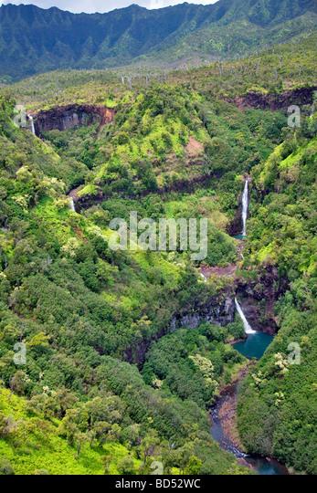 Kahili fällt fünf Schwestern fällt Kauai Hawaii Stockbild