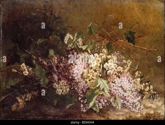 """Bildende Kunst, Scholderer, Otto (1834-1902), Malerei, """"Stilllife mit lila"""" (""""Fliederstilleben""""), Stockbild"""