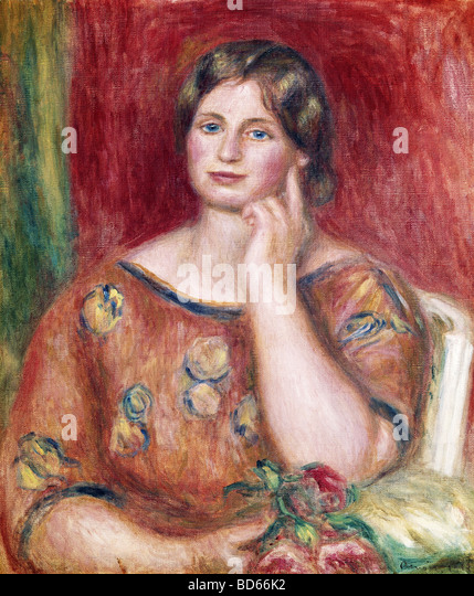 Bildende Kunst, Renoir, Auguste (1841-1919), Malerei, 'Porträt von Madame Osthaus', 1913, Museum Folkwang, Stockbild