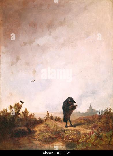 Bildende Kunst, Spitzweg, Carl (1808 ? 1885), Malerei, Öl auf Holz, 27 x 36 cm, ca. 1840, Haus der Kunst München, Stockbild