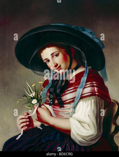 """Neumann, Friedrich Gotthart (1750-1821) bildenden Künste: Malerei, """"The Beauty von der Silber-Mühle"""" Stockbild"""