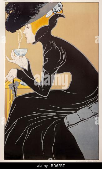 "Bildende Kunst, Mucha, Alfons Maria, 24.7.1860 - 14.7.1939, Grafik, ""Tee Trinkende Dame"" (Tee-Dame), Werbung Stockbild"