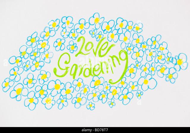 Liebe Garten- und Blumen Kind Zeichnung Stockbild