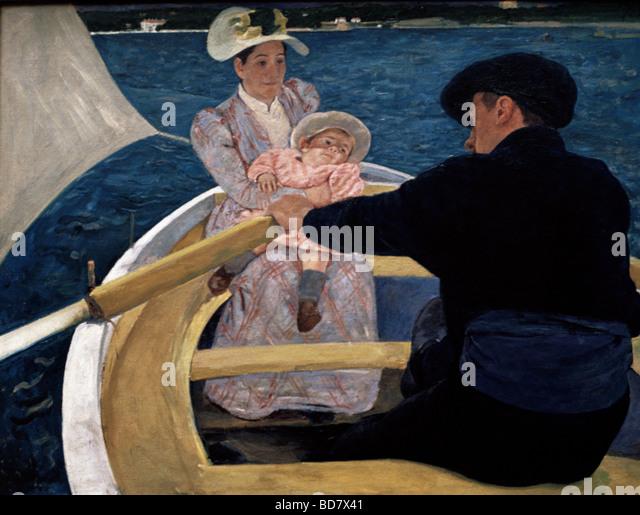 "Bildende Kunst, Cassatt, Maria, (1844-1926), Malerei, ""Schifffahrt"", Öl, Leinwand, 90 x 188 cm, 1893, Stockbild"