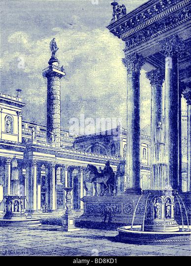 Das Forum und die Spalte von Trajan Illustration von Cassell s Illustrated Universalgeschichte von Edward Ollier Stockbild