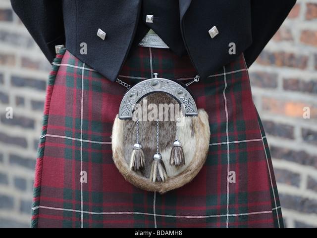 Schottland Sporran Kilt Schottland Tracht Tartan Stockbild