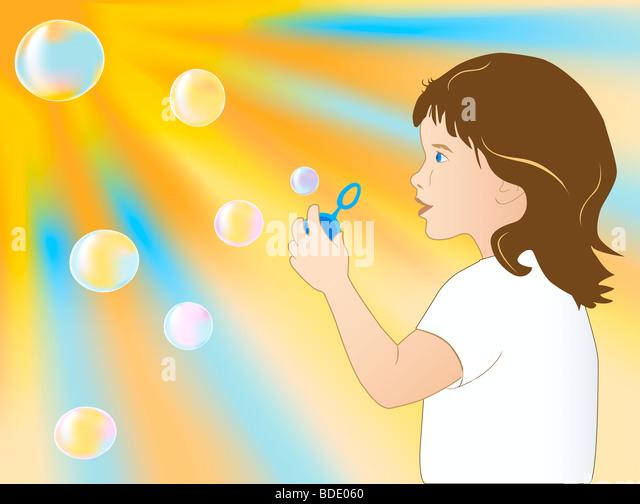 Das Mädchen hieb Seifenblasen Stockbild