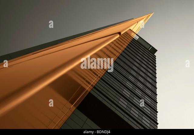 Architektonische Bild über ein mehrstöckiges Gebäude, in Frankfurt am Main, Hessen, Deutschland, Stockbild