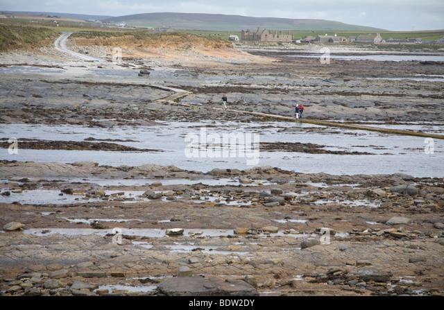 Ebbe Auf dem Festland, Hauptinsel der Orkney-Inseln, Ebbe auf dem Festland, Festland, Orkney Inseln, Schottland Stockbild