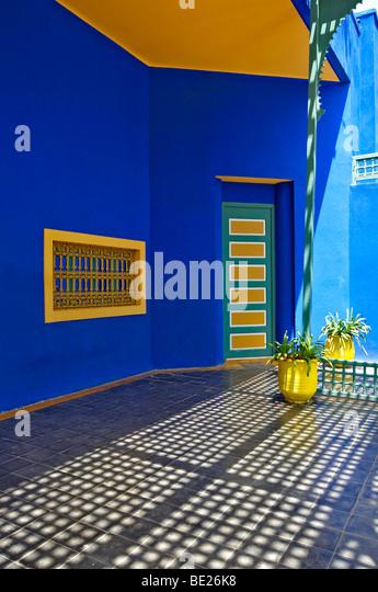 Eine grafische Detail des alten Studios von Jacques Majorelle, jetzt das Museum im Jardin Majorelle in Marrakesch Stockbild