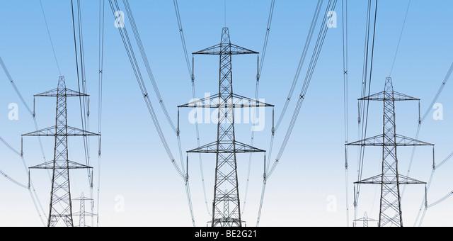 National Grid Strommasten, Oxfordshire, Vereinigtes Königreich. Stockbild
