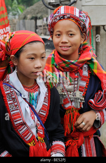 Mädchen der roten Zhao Minderheit, Berg-Stammes, Ha Giang Provinz, Nord-Vietnam, Asien Stockbild