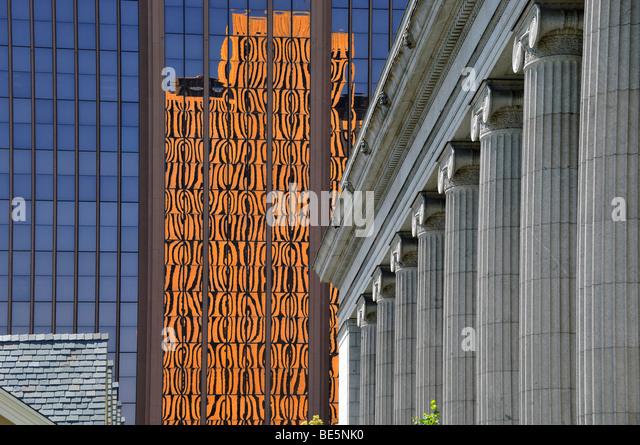 Baustile in The Temple Square, Salt Lake City, Utah, Vereinigte Staaten von Amerika Stockbild