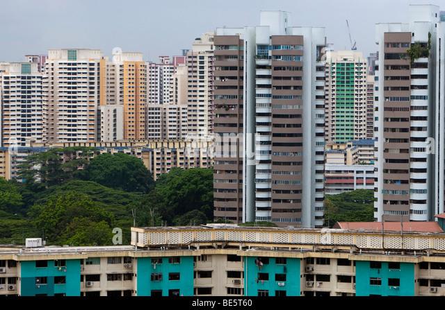 Skyline von Singapur, mehrstöckigen Gebäuden mit günstige Apartments, Singapur, Asien Stockbild