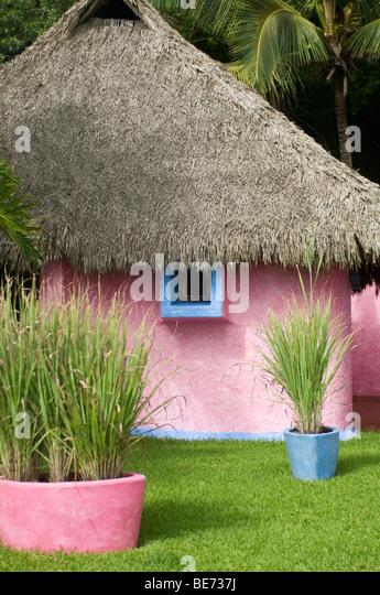 Strandhütte in Careyes, Mexiko Stockbild