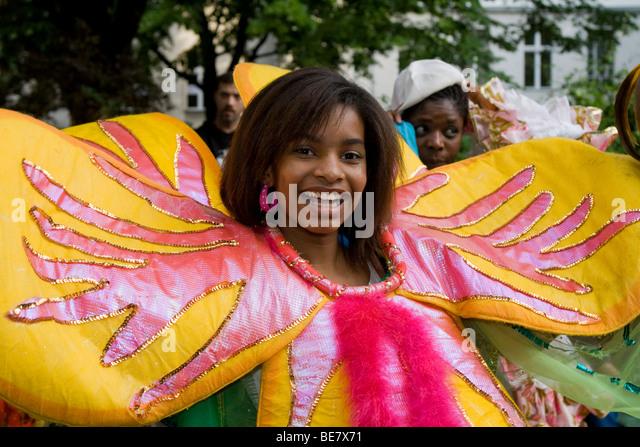 Junge Frau, Amasonia Group, Karneval der Kulturen 2009, Berlin, Deutschland, Europa Stockbild