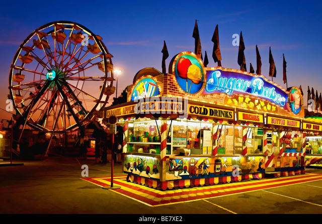 Malerei-Effekt von Midway bei Sonnenuntergang an der Kentucky State Fair in Louisville Stockbild