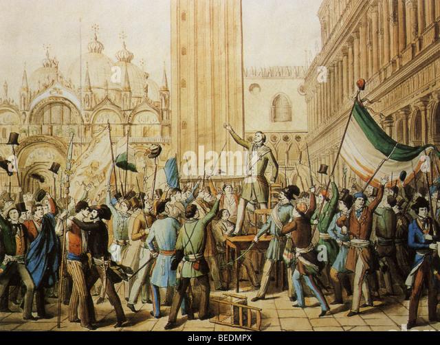 Republik Venedig ist in Markusplatz entfernt am 23. März 1848 proklamiert die Venezianer aus der österreichisch Stockbild