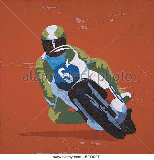 Profi-Fahrer bei Motorrad-Rennen Stockbild