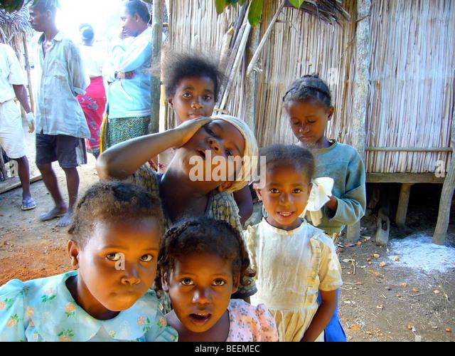 Madagaskar - Ebakika Dorf Stockbild