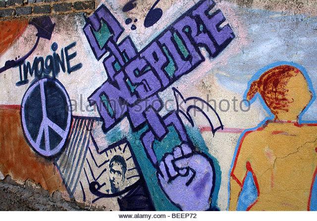 Graffiti im Township Soweto, Johannesburg, Südafrika Stockbild