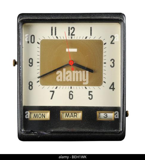 Grunge alte Uhr mit Datum und Uhrzeit Stockbild