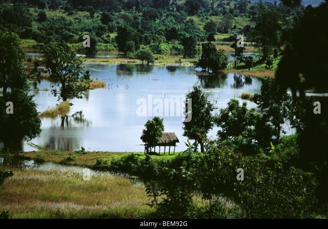 Myanmar (Burma), Auenlandschaft Stockbild