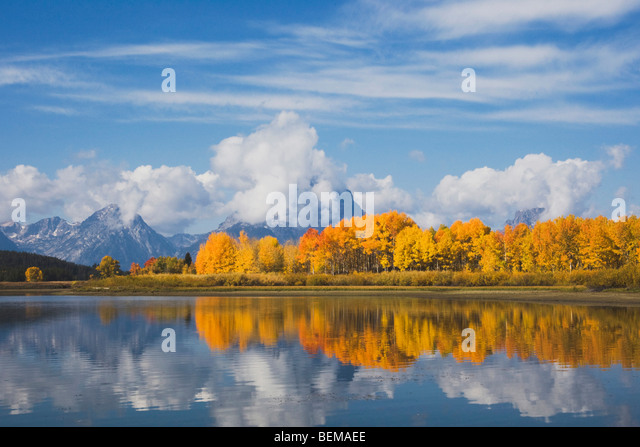 Oxbow Bend bei Sonnenaufgang, Snake River, Grand Teton NP, Wyoming, USA Stockbild