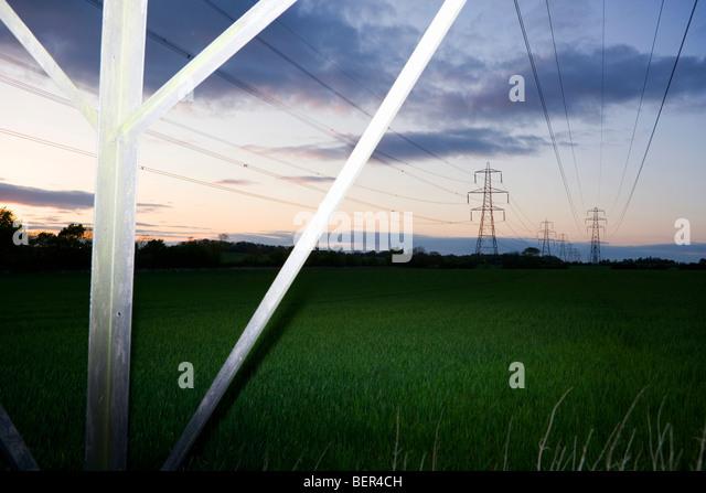 Pylonen und Stromkabel 4 Stockbild