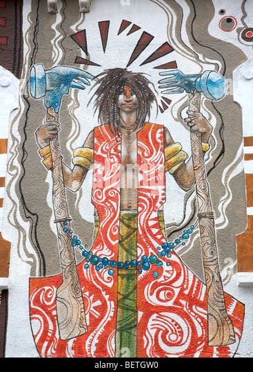Mama Africa Wand Illustration - Kapstadt Stockbild