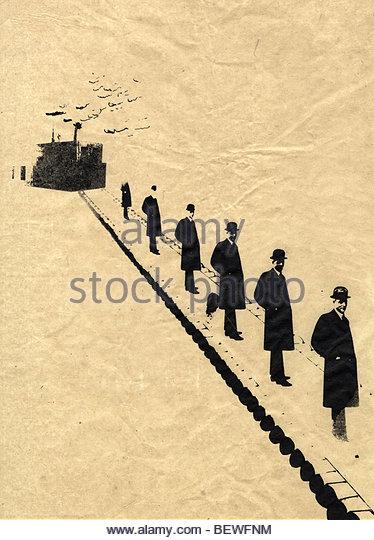 Geschäftsleute in Folge auf Förderband Stockbild