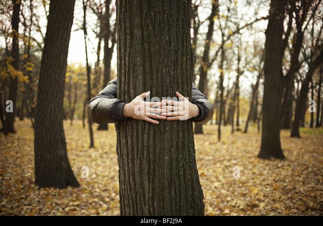 Baum und die Hände des Mannes, spezielle durchtrainierte Foto f / x, selektiven Fokus auf Händen Stockbild