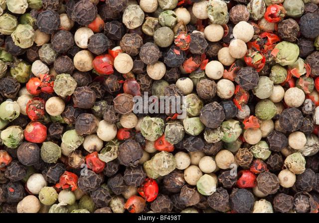 Mischung aus vier Paprika Erbsen. Schwarz, weiß, rot und rosa Pfeffer Stockbild