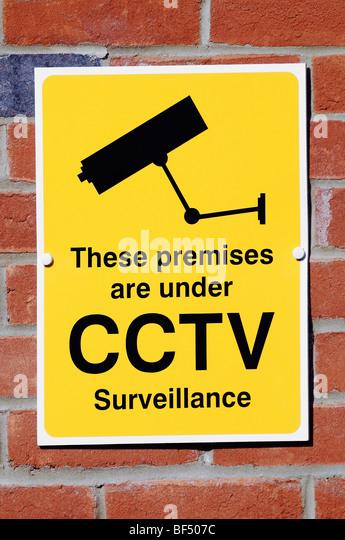 CCTV Kamera Zeichen Sicherheitswarnung, die Videoüberwachung im Bereich tätig ist. Stockbild
