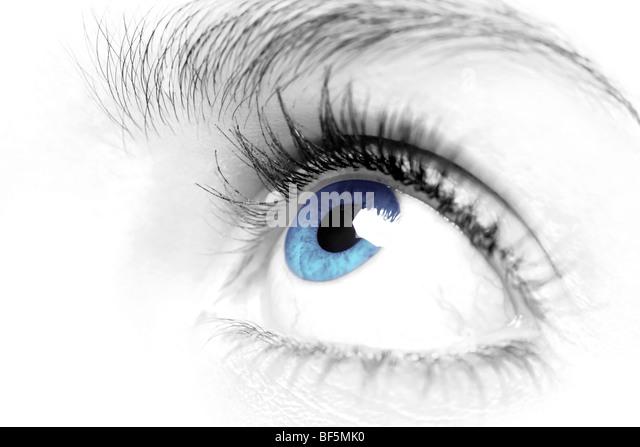 Weibchen blaue Augen schließen Stockbild