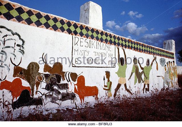 Mahafaly Grab Gemälde, Tulear, Süd-Madagaskar Stockbild