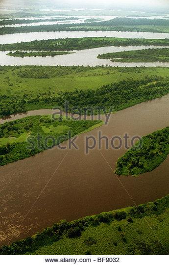 Kongo-Fluss (Antenne), demokratische Republik Kongo Stockbild